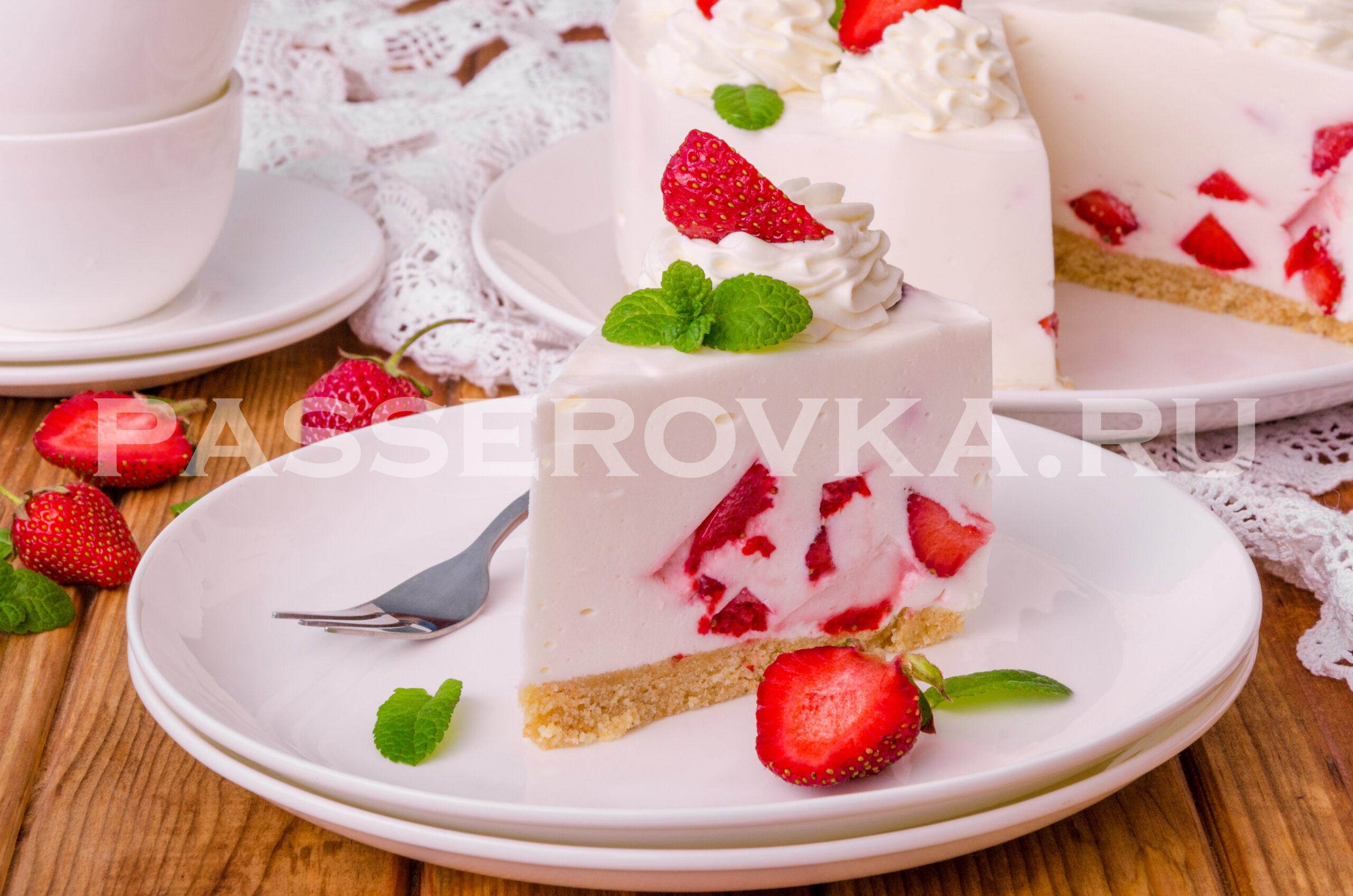 Йогуртовый торт без выпечки с печеньем и желатином