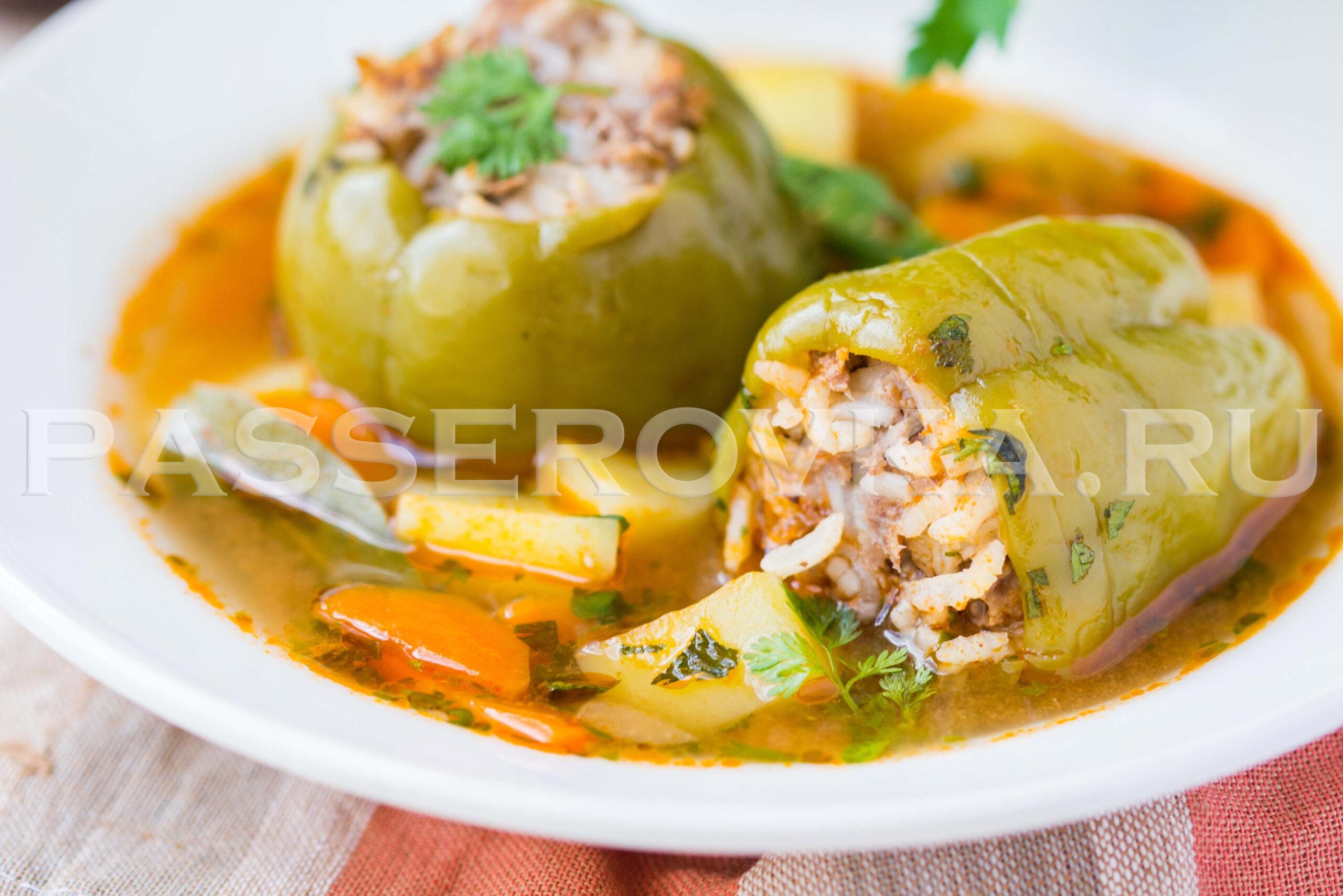 Перец фаршированный мясом и рисом рецепт в духовке